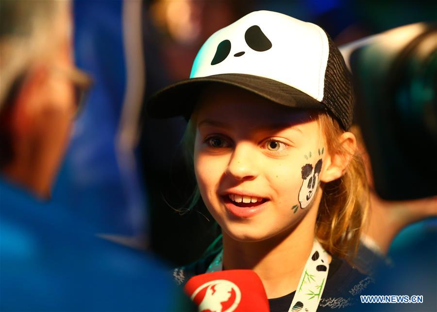 A girl speaks to media as she waits for pandas at Schiphol airport in Amsterdam, the Netherlands, on April 12, 2017. Wu Wen and Xing Ya, two Chinese giant pandas arrived on Wednesday evening at Schiphol airport in Amsterdam for a 15-year stay in a Dutch zoo, making the Netherlands the seventh European country that hosts this endangered and adorable black and white bear. (Xinhua/Gong Bing)<br/>