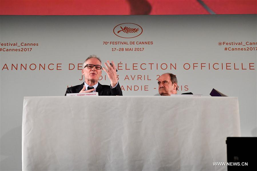 General Delegate of Cannes Film Festival Thierry Fremaux (L) and President of Cannes Film Festival Pierre Lescure attend the news conference in Paris, France on April 13, 2017. The Committee of Cannes Film Festival held a news conference on Thursday to announce this year's official selection. (Xinhua/Chen Yichen)<br/>