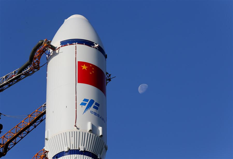 Photo taken on April 17, 2017 shows part of the cargo spacecraft Tianzhou-1 with a Long March-7 Y2 carrier rocket in Wenchang, south China's Hainan Province. China's first cargo spacecraft Tianzhou-1 is to be launched into space between April 20 and 24, according to the office of China's manned space program. (Xinhua/Ju Zhenhua)
