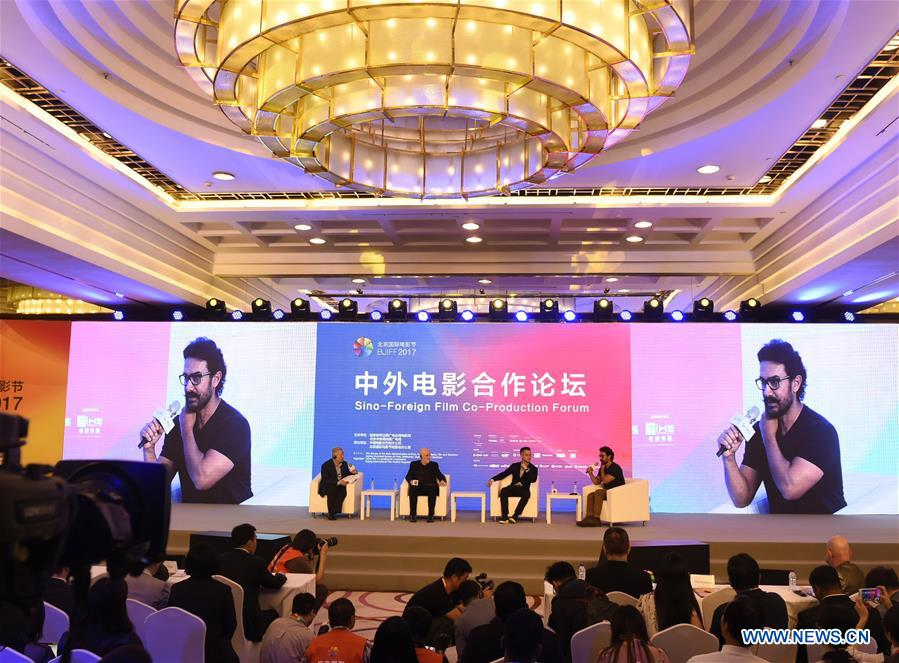 The Sino-Foreign Film Co-Production Forum is held on the sidelines of the Beijing International Film Festival in Beijing, capital of China, April 17, 2017. (Xinhua/Lu Peng)<br/>