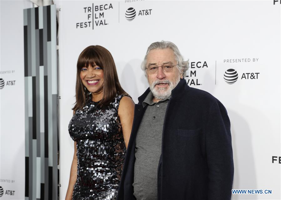 Actor Robert De Niro and his wife Grace Hightower attend the opening night of the 2017 Tribeca Film Festival and the world premiere of &quot;Clive Davis: The Soundtrack of Our Lives&quot; in New York, the United States, April 19, 2017. The 16th annual Tribeca Film Festival opened here Wednesday night, bringing a trove of films, TV events, virtual reality installations and music pieces to New York. (Xinhua/Wang Ying)<br/>