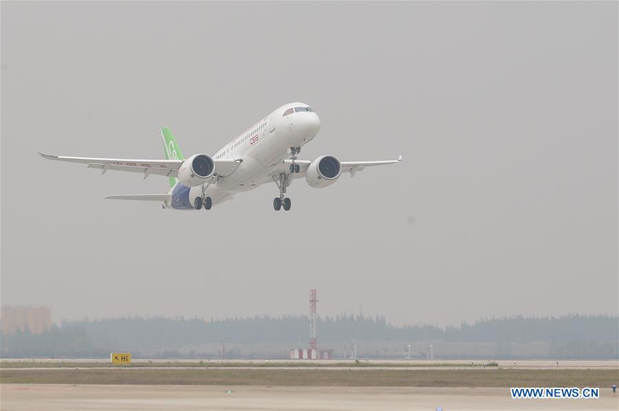 China sends homegrown jumbo passenger jet C919 into sky