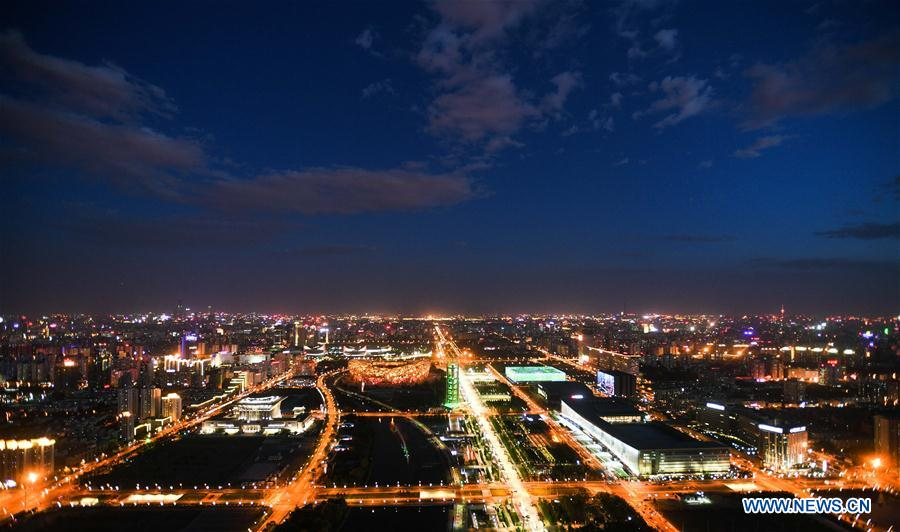 The night view of the city is seen in Beijing, capital of China, May 14, 2017. The Belt and Road Forum for International Cooperation opened in Beijing on Sunday. (Xinhua/Wang Jianhua)<br/>