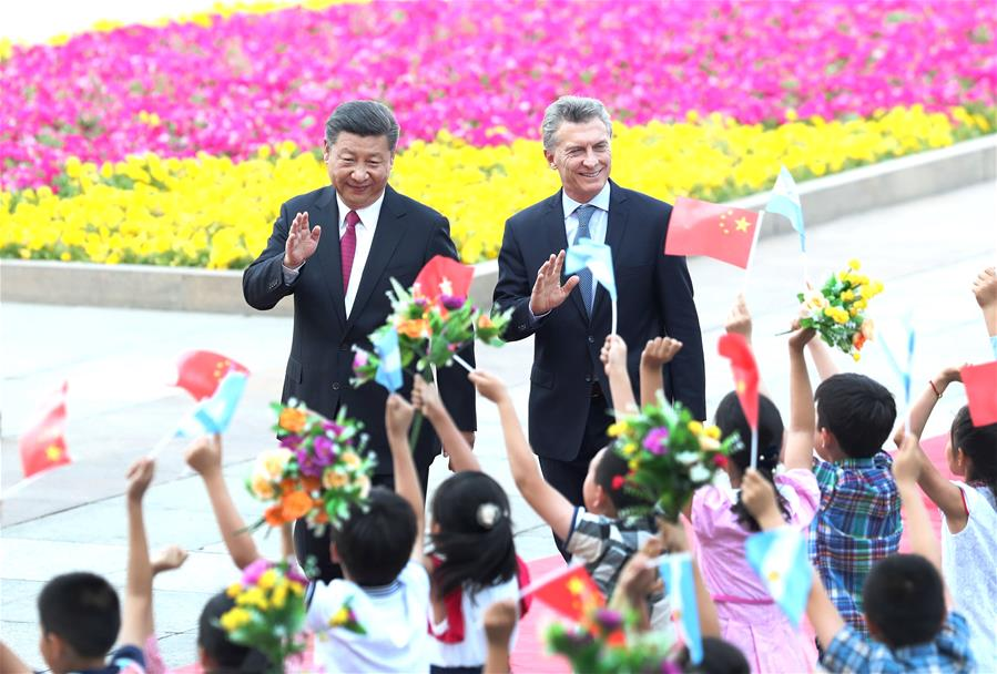 Chinese President Xi Jinping holds a welcome ceremony for his Argentine counterpart Mauricio Macri before their talks in Beijing, capital of China, May 17, 2017. (Xinhua/Ma Zhancheng)<br/>