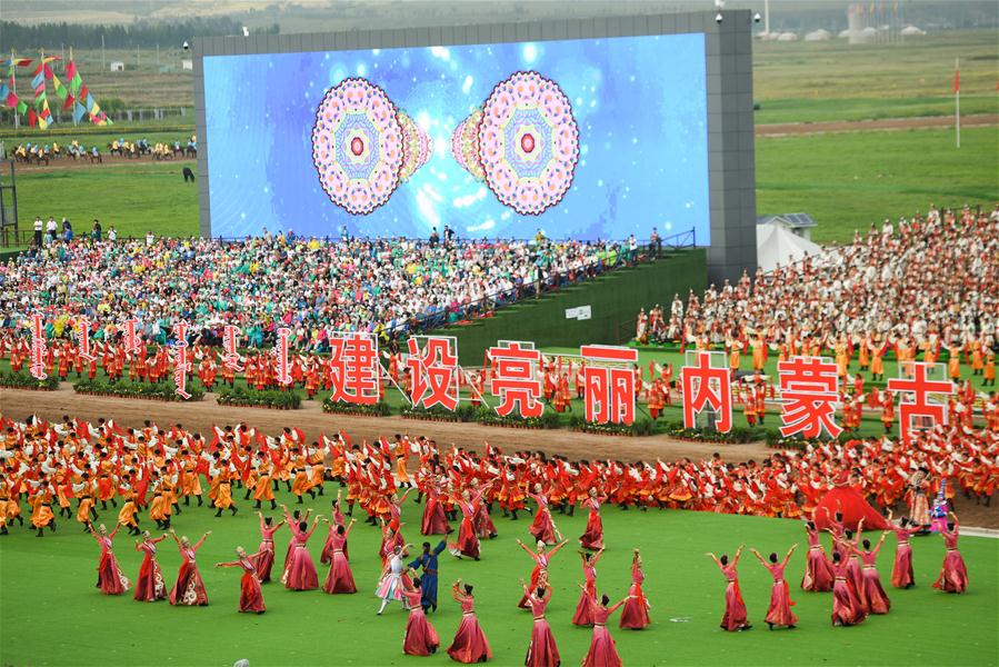 Photo taken on Aug. 8, 2017 shows a view of the celebration marking the 70th anniversary of the Inner Mongolia Autonomous Region in Hohhot, north China's Inner Mongolia Autonomous Region, Aug. 8, 2017.(Xinhua/Chen Yehua)<br/>