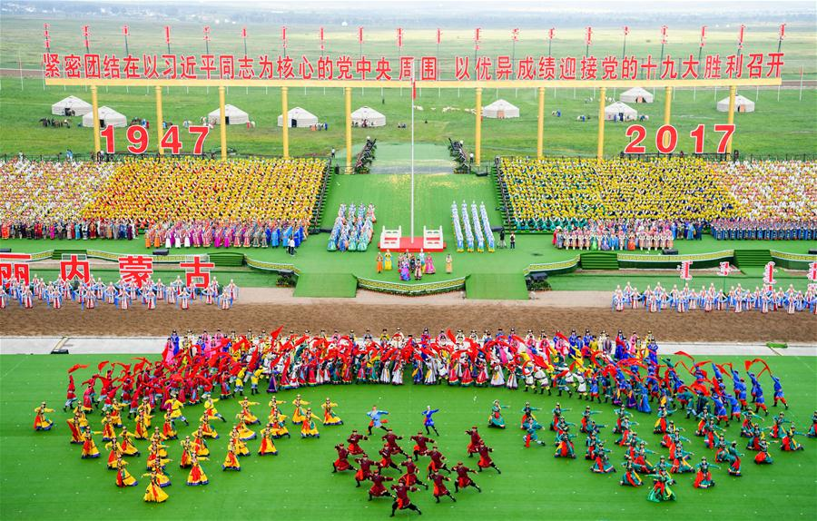 Photo taken on Aug. 8, 2017 shows a view of the celebration marking the 70th anniversary of the Inner Mongolia Autonomous Region in Hohhot, north China's Inner Mongolia Autonomous Region, Aug. 8, 2017.(Xinhua/Lian Zhen)<br/>