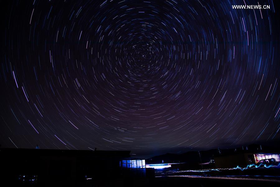 Starry sky seen in SW China's Tibet