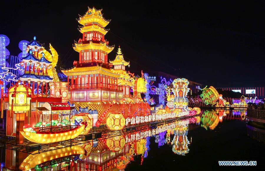 Photo taken on Sept. 27, 2017 shows a set of lanterns on water during a lantern festival in Haining, east China's Zhejiang Province. A lantern festival is held here to celebrate the upcoming National Day and Mid-autumn Festival. (Xinhua/Zhang Cheng)<br/>