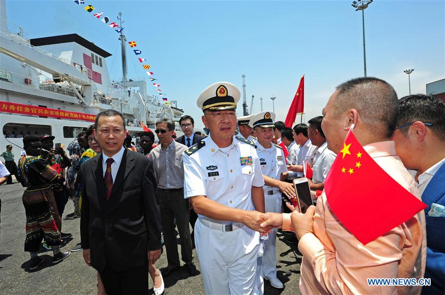 Image result for The Chinese naval hospital ship Peace Ark has arrived in Luanda, capital of Angola on Thursday morning, on an eight-day mission to deliver free medical services to the local people.