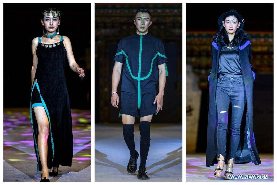 Combo photo taken on Sept. 11, 2017 shows models presenting creations designed by Genqoi Tashi, a fashion designer of Tibetan ethnic group, in Lhasa, capital of southwest China's Tibet Autonomous Region. Genqoi Tashi, 34, established his own fashion brand Yeeom, which combines traditional culture of the Tibetan ethnic group and modern fashions, in 2012. Genqoi Tashi has made the fashion brand Yeeom known worldwide and takes orders from India, Nepal and European countries. (Xinhua/Purbu Zhaxi)<br/>