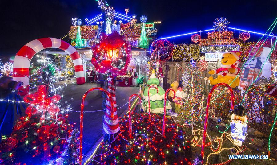 Colorful Christmas lights and decorations seen in Canada ...