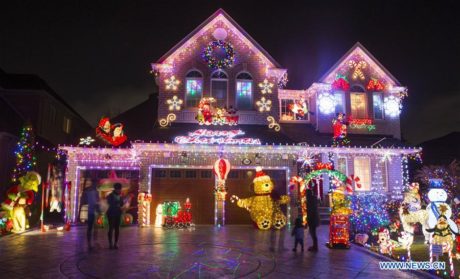 Colorful Christmas Lights On House.Colorful Christmas Lights And Decorations Seen In Canada