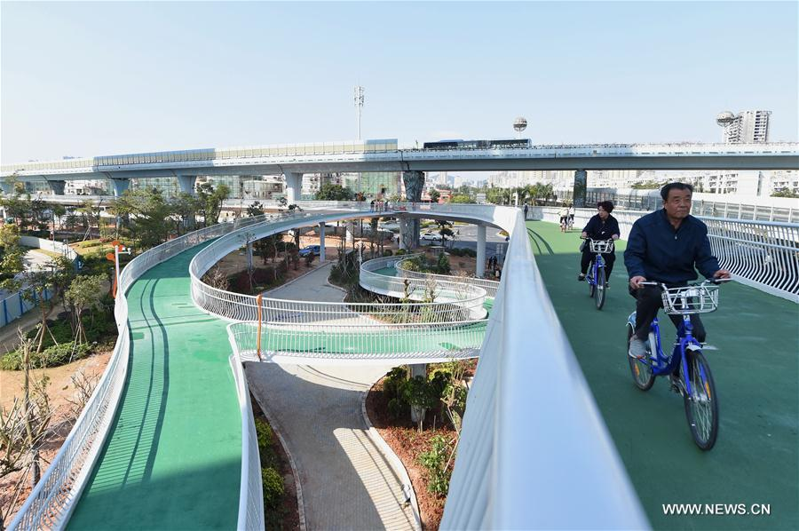 China's first bicycle path in the air, called the 'skycycle' path, at a length of 7.6 kilometers, started a trial run on January 26 in Xiamen City.