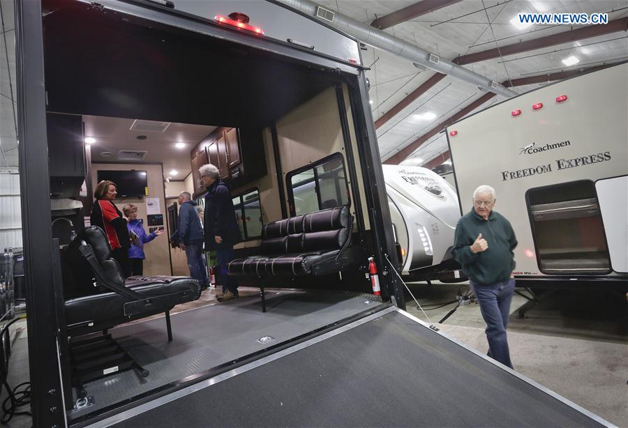 People visit the Earlybird RV Show in Vancouver, Canada, Feb. 17, 2017.