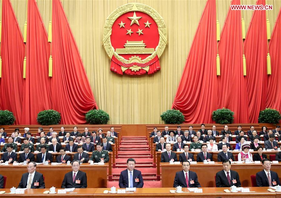 Chinese leaders attend opening meeting of 5th session of 12th NPC