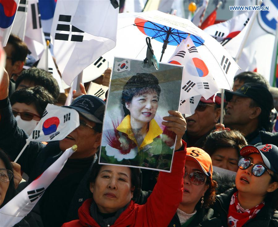 People supporting Park Geun-hye rally before the Constitutional Court's ruling on Park's impeachment in Seoul, South Korea, March 10, 2017.