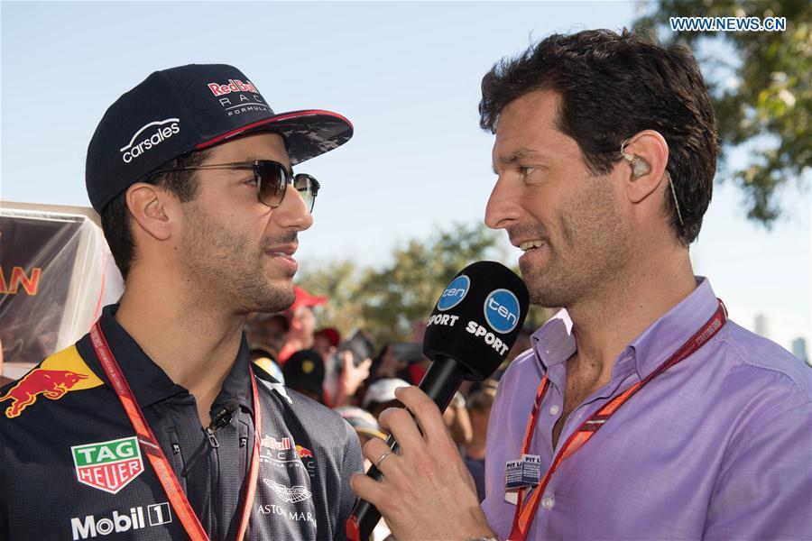 86ce836b959 Red Bull Racing Formula One driver Daniel Ricciardo(L) of Australia is  interviewed by