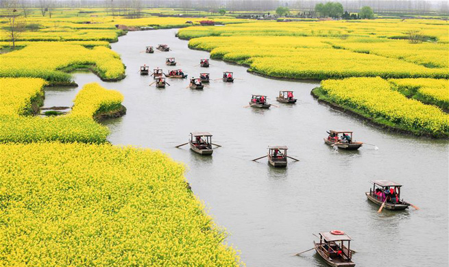 Tourists enjoy scenery of cole flowers on boats in E China