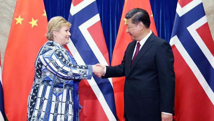 President Xi meets Norwegian PM to enhance mutual trust