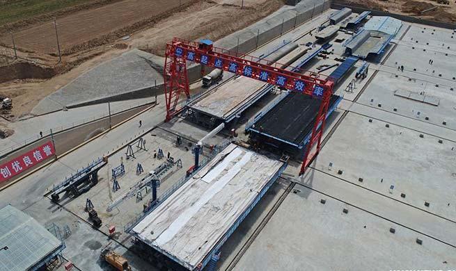 Mafanggou Bridge of Yinchuan-Xi'an high-speed railway under construction
