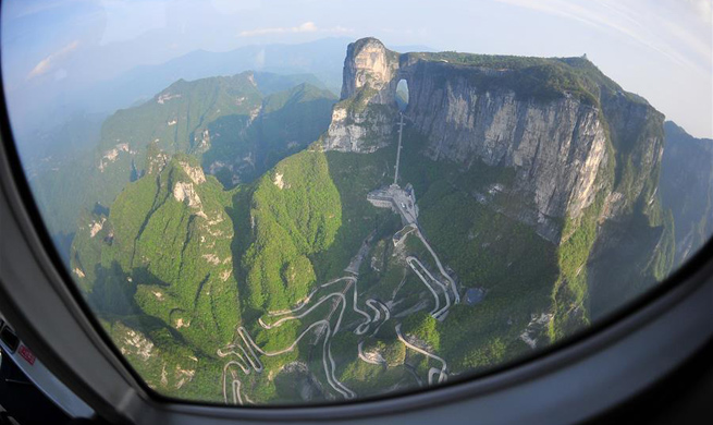 Aerial view of Tianmenshan scenic area in central China's Zhangjiajie