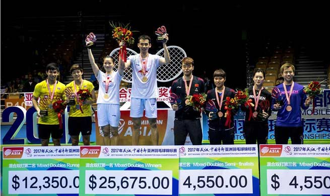 China claims title of mixed doubles at Badminton Asia Championships