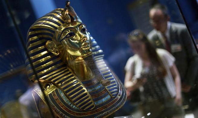 Golden mask of King Tutankhamun seen at museum in Cairo