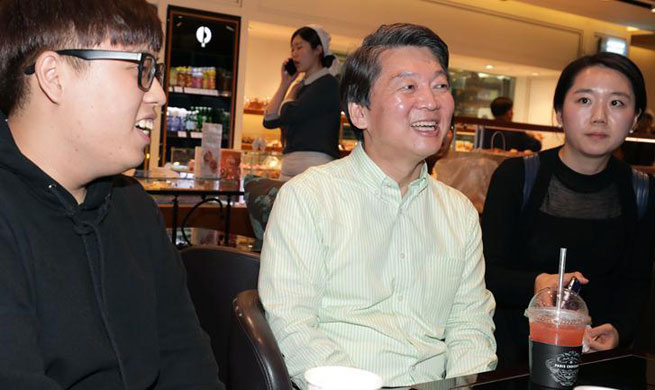 S. Korean presidential candidate Ahn Cheol-soo attends campaign in Seoul