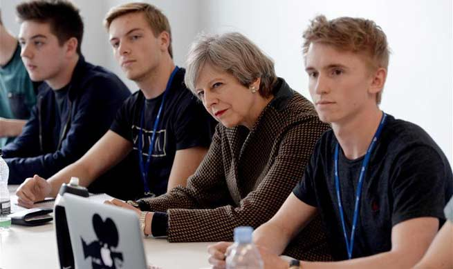 British PM attends election campaign at Int'l Aviation Academy in Norwich