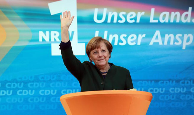 Merkel attends CDU rally for North Rhine-Westphalia state elections