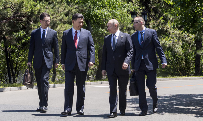 Xi takes walk with Putin after meeting in Beijing