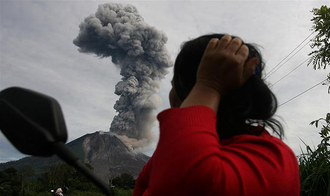 Mount Sinabung spews volcanic ash in Indonesia