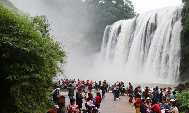 Water level of Huangguoshu Waterfall rises due to heavy rainfall