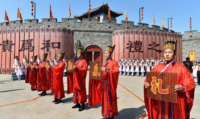 People attend ceremony to commemorate Confucius in E China's Shandong