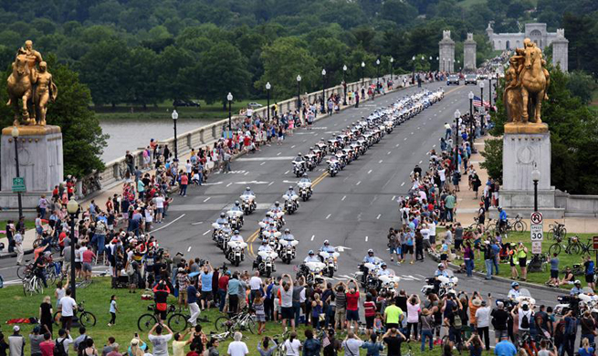 U.S. motorcyclists participate in Rolling Thunder motorcycle ride