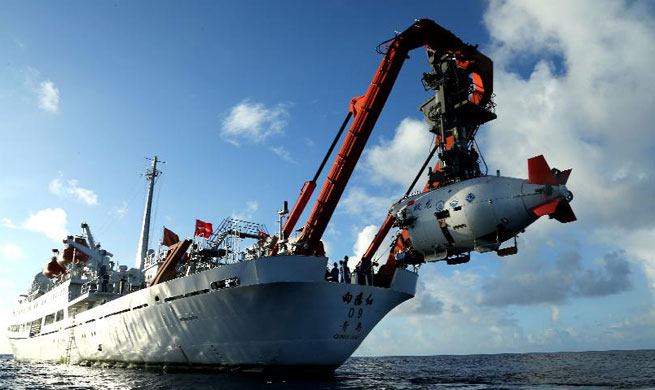 China's submersible Jiaolong conducts 5th dive in Mariana Trench
