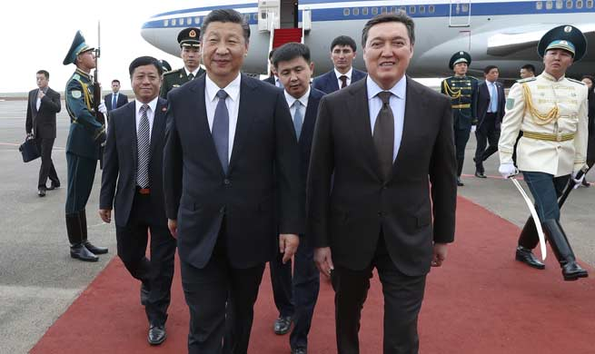 Chinese president arrives in Kazakhstan for state visit, SCO summit,  Expo 2017