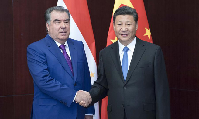 Chinese president meets with Tajik counterpart in Kazakhstan