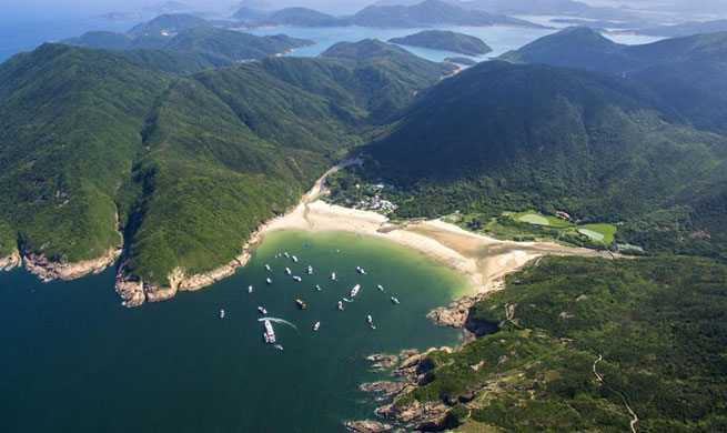 Aerial view shows scenery in Hong Kong