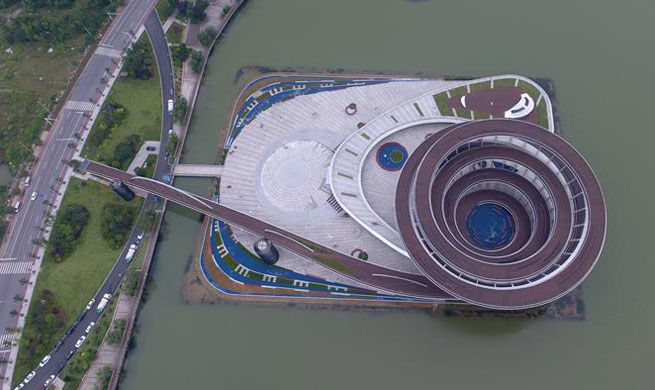 Aerial view of spiral sightseeing platform in central China's Changsha