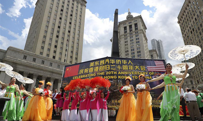 Over 10,000 Chinese Americans gather in NYC to mark HK's 20th return anniversary