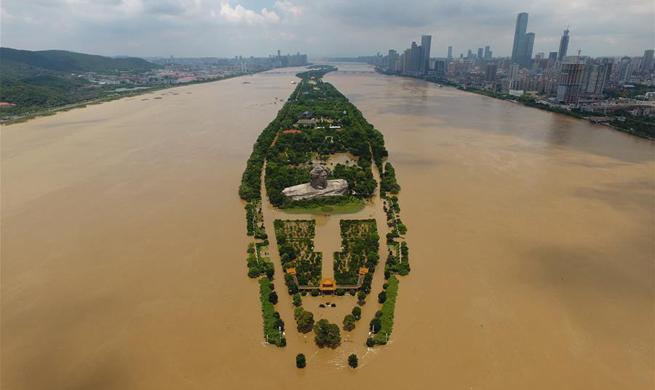 Water level in Changsha section of Xiangjiang River reaches record high