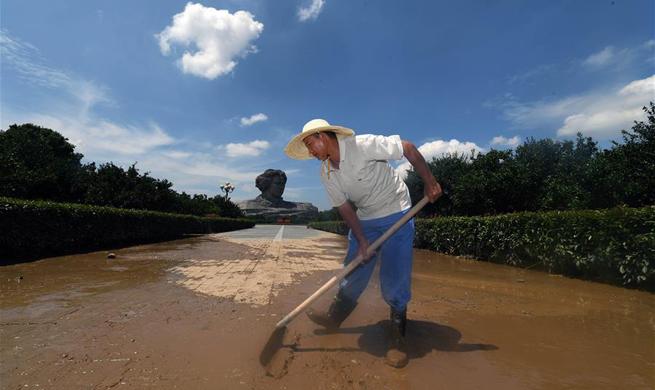 Water level of Juzizhou Islet in Changsha starts receding