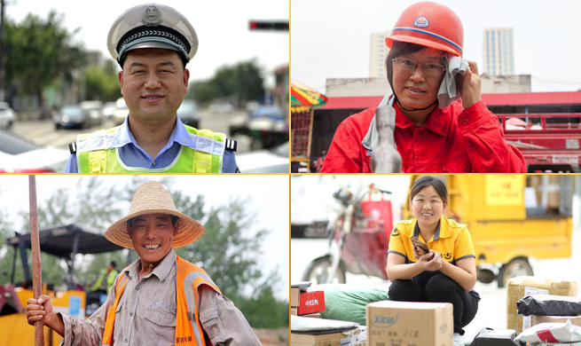 Outdoor work continues despite sweltering weather across many parts of China