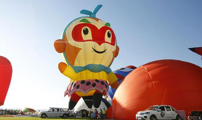 Hot air balloon event held in China's Ningxia
