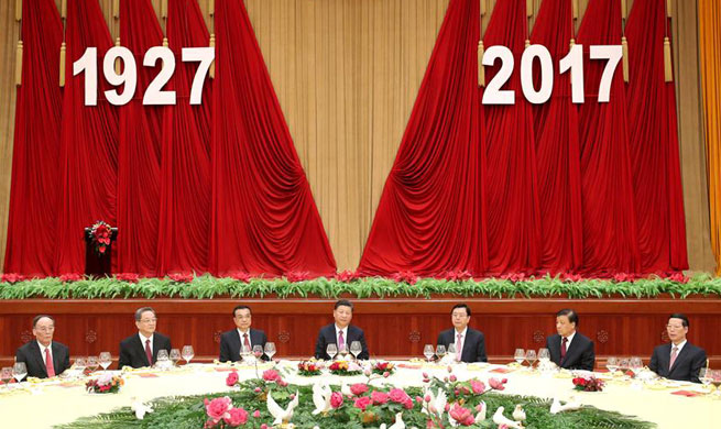 President Xi attends reception for founding anniversary of PLA