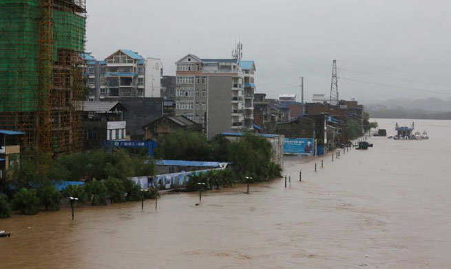 Heavy rain hits Rongan County in S China's Guangxi