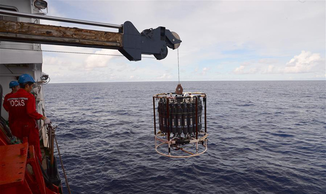 Chinese scientists conduct research on Caroline Seamount in western Pacific Ocean