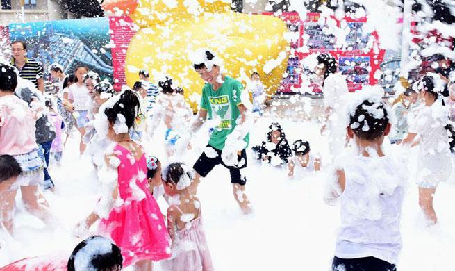 Children have fun at bubble fair
