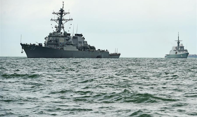 U.S. destroyer arrives at waters off Singaporean Naval Base after collision